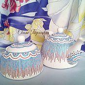 """Посуда ручной работы. Ярмарка Мастеров - ручная работа Чайный сервиз фарфоровый """"Триколор"""" (чайник и сахарница). Handmade."""
