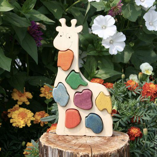 Развивающие игрушки ручной работы. Ярмарка Мастеров - ручная работа. Купить Жирафик. Handmade. Деревянная игрушка, деревянные пазлы, паззл