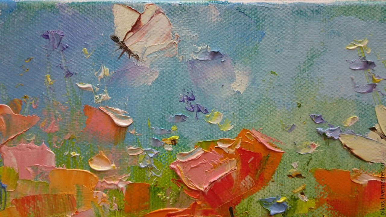 small oil painting on canvas with butterflies and poppies