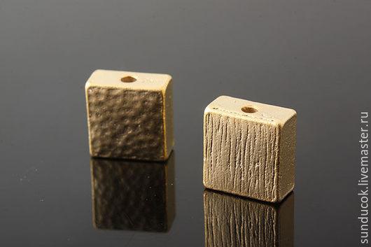 Для украшений ручной работы. Ярмарка Мастеров - ручная работа. Купить 901 Бусины 8 мм  позолота квадратные. Handmade.