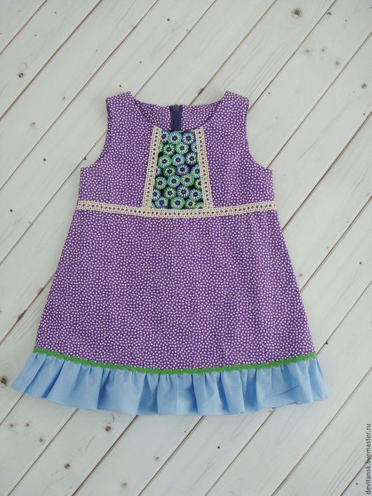Одежда для девочек, ручной работы. Ярмарка Мастеров - ручная работа. Купить Платье для девочки летнее в горох. Handmade. Фиолетовый, для девочки