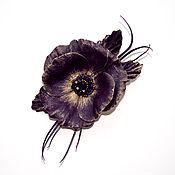 Украшения ручной работы. Ярмарка Мастеров - ручная работа Брошь из натуральной кожи Виола 3 пурпурная. Handmade.
