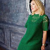 Одежда ручной работы. Ярмарка Мастеров - ручная работа Платье зеленое ажурное вязаное летнее с круглой кокеткой. Handmade.