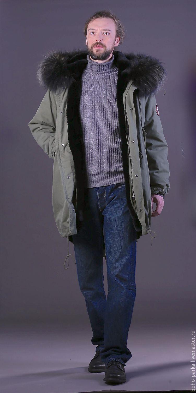 94b9f009cf51 Мужская куртка парка на меховой подстежке из кролика – купить в ...