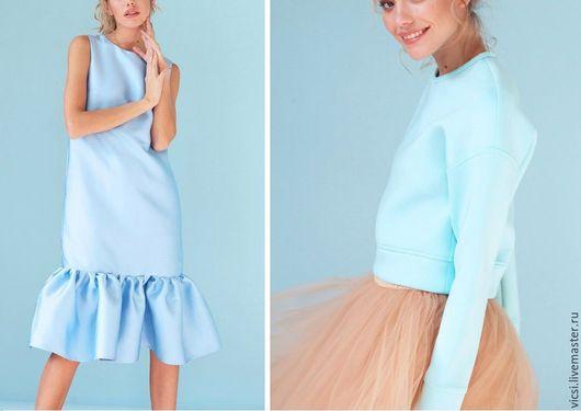 """Костюмы ручной работы. Ярмарка Мастеров - ручная работа. Купить Костюм № 6 """" Небо"""" (платье+юбка+жакет). Handmade. Голубой"""