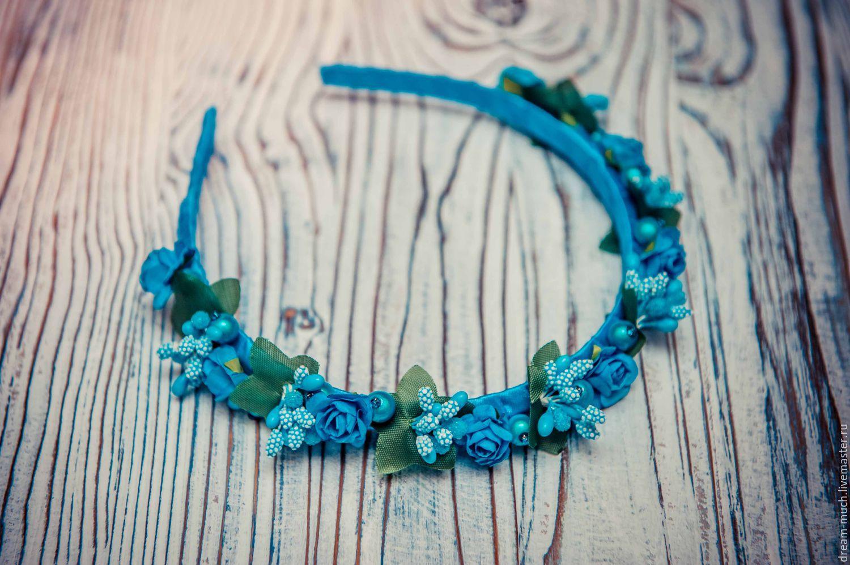 Обруч на голову с мелкими цветами голубой, Диадемы, Москва, Фото №1