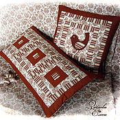 Для дома и интерьера ручной работы. Ярмарка Мастеров - ручная работа Лоскутные подушки Кофейная песенка. комплект. Handmade.