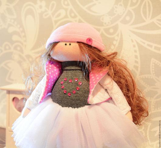 Куклы тыквоголовки ручной работы. Ярмарка Мастеров - ручная работа. Купить Текстильная кукла Lizzi. Handmade. Серый, Кукла для интерьера