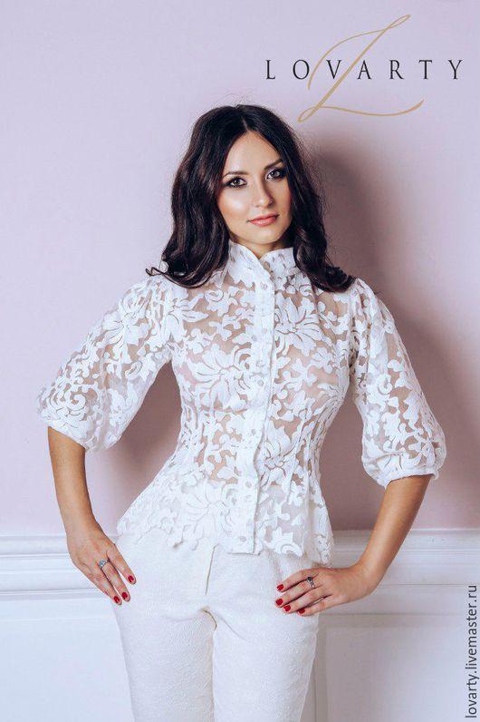 Блузки ручной работы. Ярмарка Мастеров - ручная работа. Купить Блуза кружевная белая цветочная. Handmade. Белый, шелк, кружево