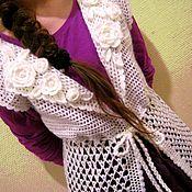 Одежда ручной работы. Ярмарка Мастеров - ручная работа Жилет женский длинный белый, вязаный крючком из мохера. Handmade.