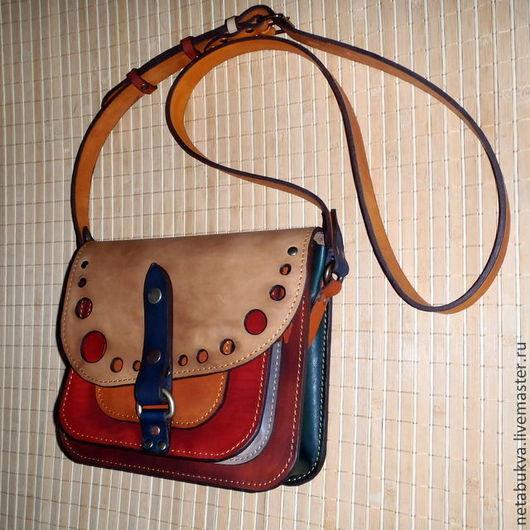 Женские сумки ручной работы. Ярмарка Мастеров - ручная работа. Купить Разноцветная. Handmade. Сумка, кожа натуральная