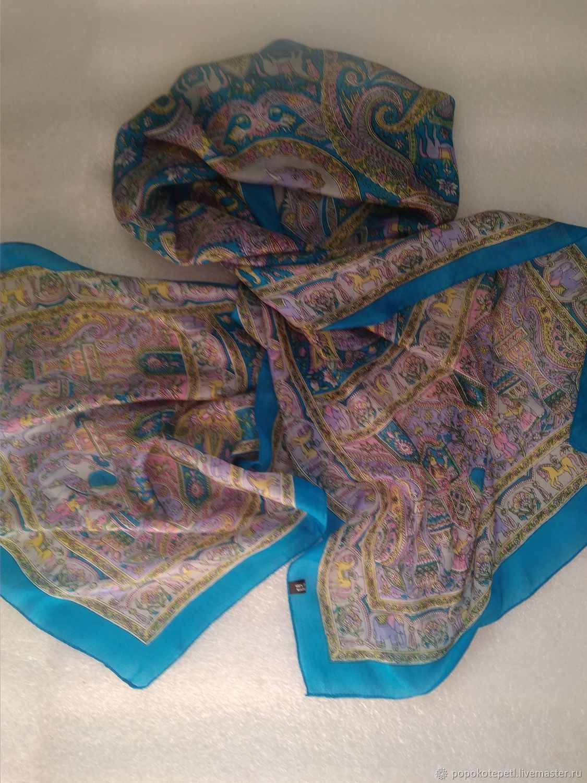 Print scarf, 100% silk, vintage India, Vintage accessories, Novorossiysk,  Фото №1