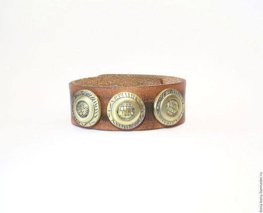 """Браслеты ручной работы. Ярмарка Мастеров - ручная работа. Купить Кожаный браслет """"Circle time"""". Handmade. Коричневый, кожаный браслет"""