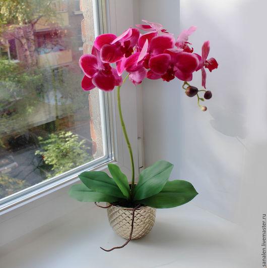 Интерьерные композиции ручной работы. Ярмарка Мастеров - ручная работа. Купить Орхидея в золотом горшке. Handmade. Фуксия, искусственная орхидея