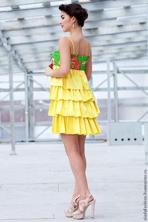 """Платья ручной работы. Ярмарка Мастеров - ручная работа. Купить Платье """"Летний зной"""". Handmade. Платье, платье с оборками"""