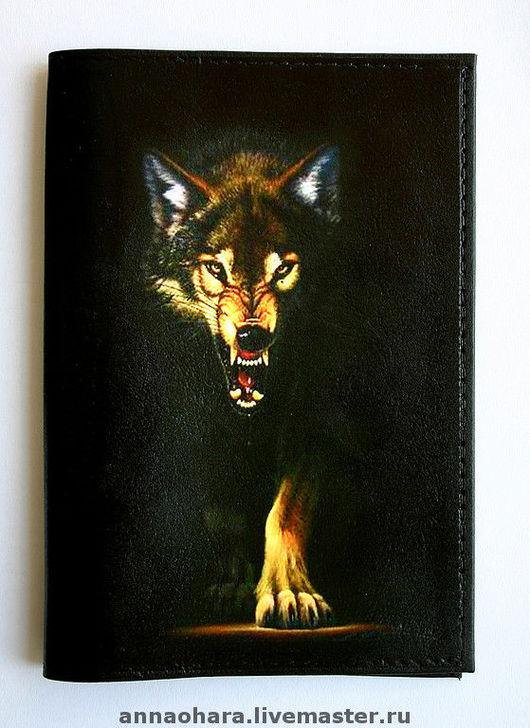 Обложки ручной работы. Ярмарка Мастеров - ручная работа. Купить Обложка для паспорта Волк. Handmade. Паспорт, дизайнерская обложка, черный