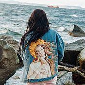 Одежда handmade. Livemaster - original item Denim jacket with Venus print. Painting on fabric. Handmade.