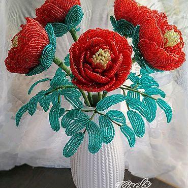Цветы и флористика ручной работы. Ярмарка Мастеров - ручная работа Пионы из бисера. Handmade.
