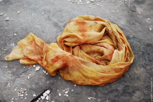 """Шарфы и шарфики ручной работы. Ярмарка Мастеров - ручная работа. Купить Легкий шарф шелковый """"Солнечный"""" желтый эко принт бохо летний. Handmade."""