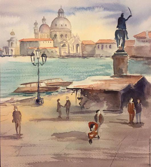 """Город ручной работы. Ярмарка Мастеров - ручная работа. Купить """"Набережная Венеции"""", акварель. Handmade. Городской пейзаж, венеция, гондолы"""