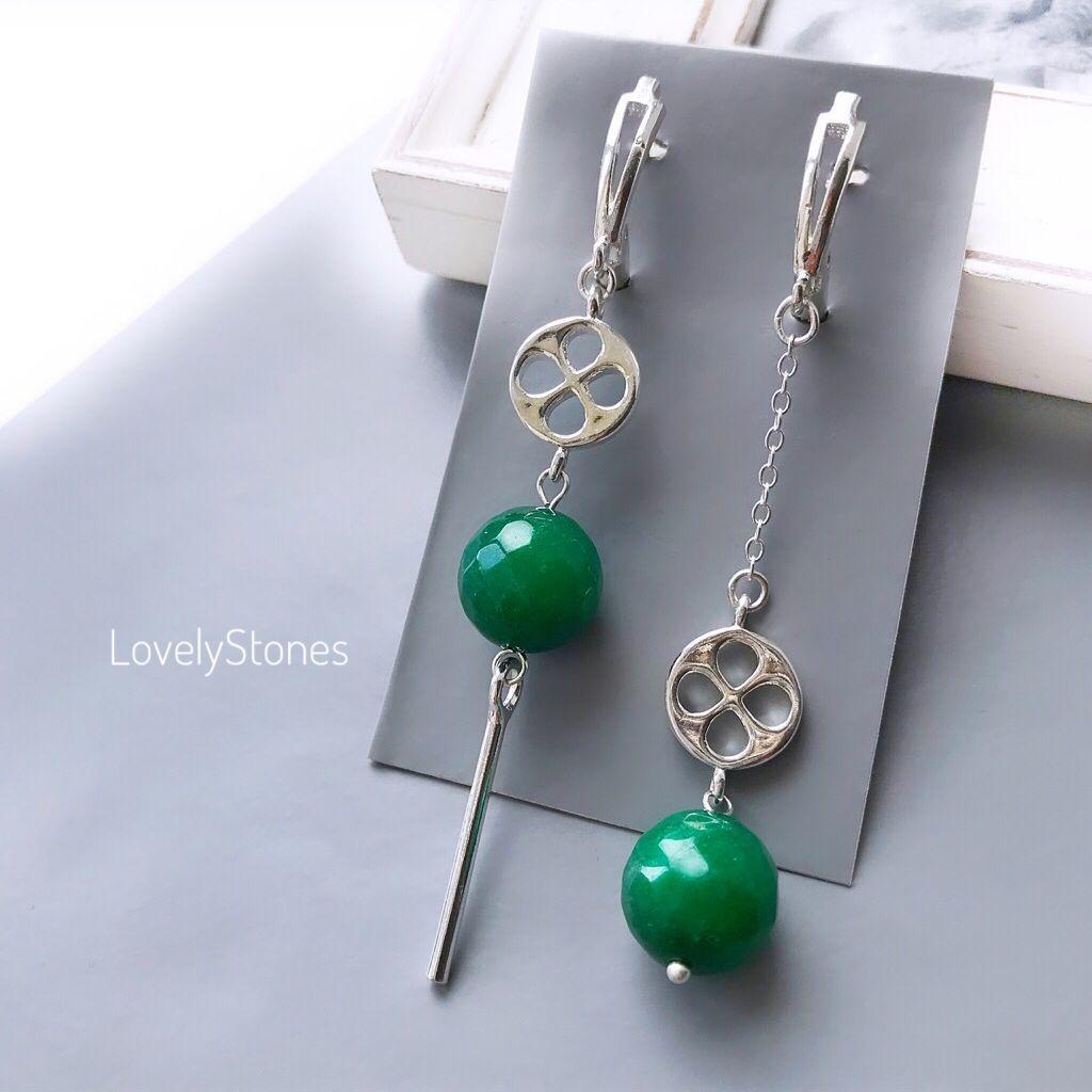 Asymmetric earrings long Emerald, Earrings, Yaroslavl,  Фото №1