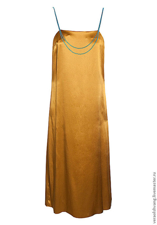 Платья ручной работы. Ярмарка Мастеров - ручная работа. Купить Атласное платье на бисерных бретельках. Handmade. Золотой, платье