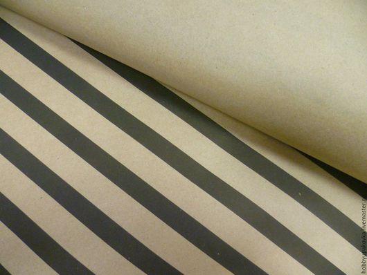 Упаковка ручной работы. Ярмарка Мастеров - ручная работа. Купить Крафт-бумага (черные полосы) упаковочная 50х70 см. Handmade.