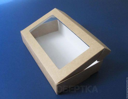 Упаковка ручной работы. Ярмарка Мастеров - ручная работа. Купить ОСТАТОК! Коробка-чемоданчик крафт  с окном  19,5х12х4 см. Handmade.