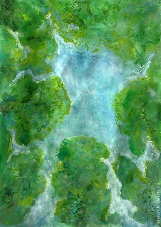 """Пейзаж ручной работы. Ярмарка Мастеров - ручная работа. Купить """"Островок неба"""" акварельна работа. Handmade. Лес, небо, чаща"""
