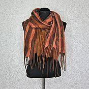 Аксессуары handmade. Livemaster - original item Felted Scarf Stole Unisex Women Men Brown Merino Wool. Handmade.