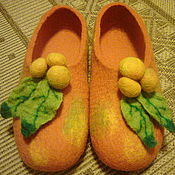 Slippers handmade. Livemaster - original item Slippers felted Apples Chinese.. Handmade.