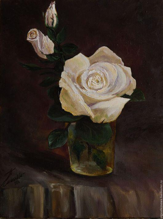 Картины цветов ручной работы. Ярмарка Мастеров - ручная работа. Купить Картина ручной работы. Чайная роза. Картина в подарок.. Handmade.