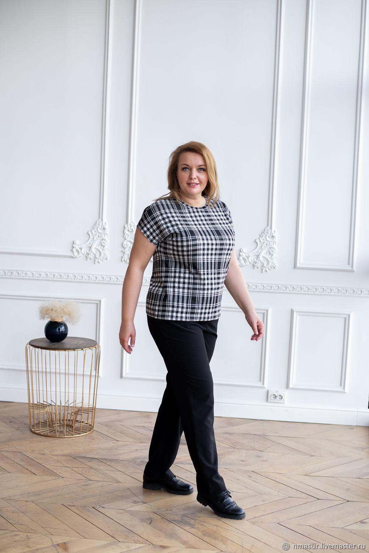 Checkered Viscose T-shirt Plus Size, Pants, T-shirts, Novosibirsk,  Фото №1