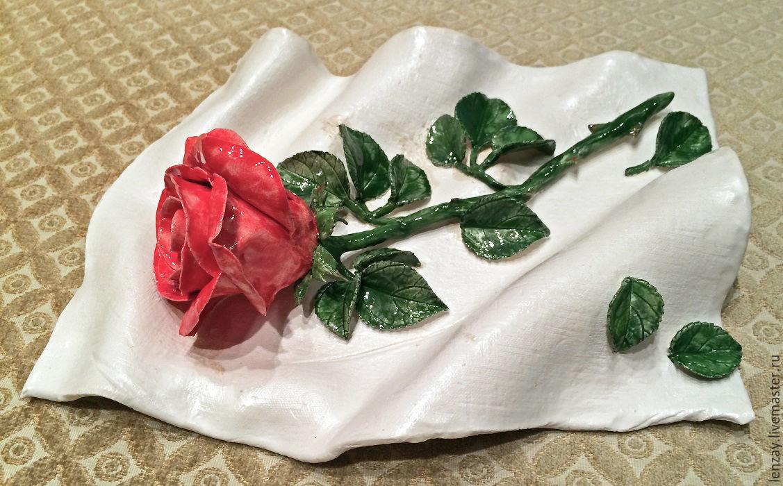 Mural `red rose`. Ceramic flowers Elena Zaichenko