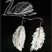 Earrings handmade. Livemaster - original item Earrings Bead  White plume. Handmade.