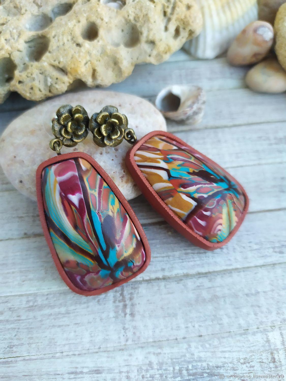 Earrings from polymer clay SUMMER BOHO, Stud earrings, Zelenograd,  Фото №1