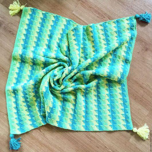 Пледы и одеяла ручной работы. Ярмарка Мастеров - ручная работа. Купить Детский плед. Handmade. Комбинированный, плед вязаный