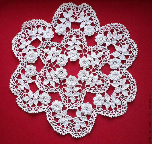 """Текстиль, ковры ручной работы. Ярмарка Мастеров - ручная работа. Купить Салфетка """"Розы"""". Handmade. Белый, ажурная салфетка"""