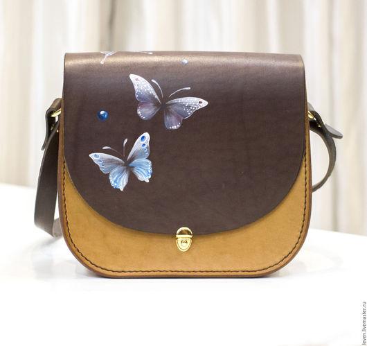 """Женские сумки ручной работы. Ярмарка Мастеров - ручная работа. Купить Сумка кросс-боди """"Бабочки"""" расписанная, кожа растительного дубления. Handmade."""