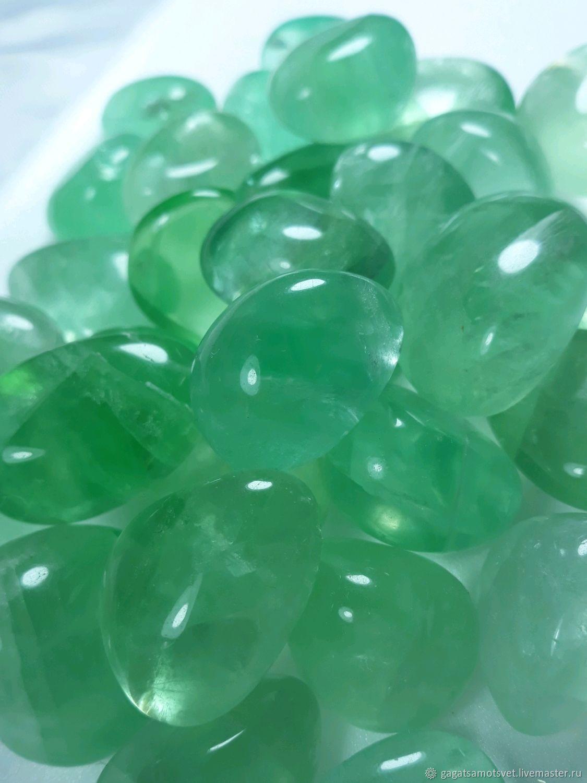 Fluorite green (extra tumbling ) Shangrao, Jiangxi province( China), Cabochons, St. Petersburg,  Фото №1