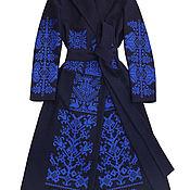 Одежда handmade. Livemaster - original item Dark blue coat with ethnic embroidery. Handmade.