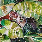 Картины и панно handmade. Livemaster - original item Emerald painting watercolor. Handmade.