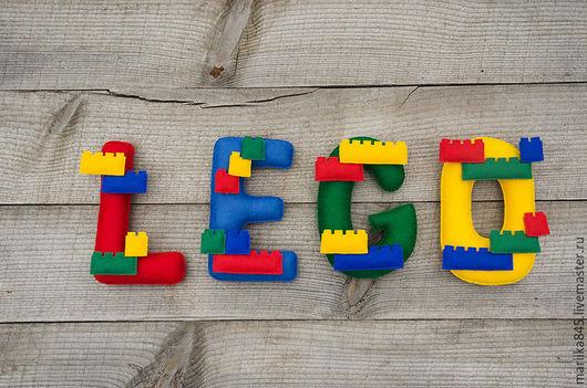 Интерьерные слова ручной работы. Ярмарка Мастеров - ручная работа. Купить Слово из фетра LEGO. Handmade. Имя из фетра