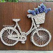 Картины и панно ручной работы. Ярмарка Мастеров - ручная работа Картина Велосипед прованс в технике стринг арт. Handmade.