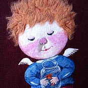 """Картины и панно ручной работы. Ярмарка Мастеров - ручная работа Картина из шерсти """"Моя золотая рыбка"""". Handmade."""