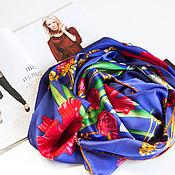 """Шёлковый платок из ткани chanel """" Сhamp floraison"""""""
