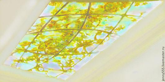 Элементы интерьера ручной работы. Ярмарка Мастеров - ручная работа. Купить Витражный подвесной потолок-утро в садовой беседке. Handmade.