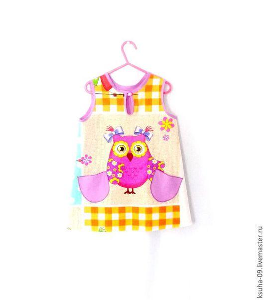 """Одежда для девочек, ручной работы. Ярмарка Мастеров - ручная работа. Купить Платье для девочки """"Совушка"""". Handmade. Комбинированный, путешествие, птица"""