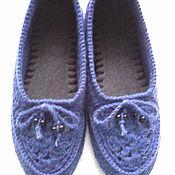 Обувь ручной работы handmade. Livemaster - original item Knitted Slippers with openwork top ( color-jeans ). Handmade.