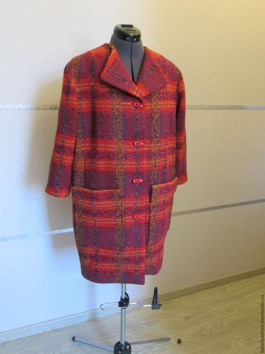 Верхняя одежда ручной работы. Ярмарка Мастеров - ручная работа. Купить Пальто в  клетку. Handmade. Ярко-красный, прямое